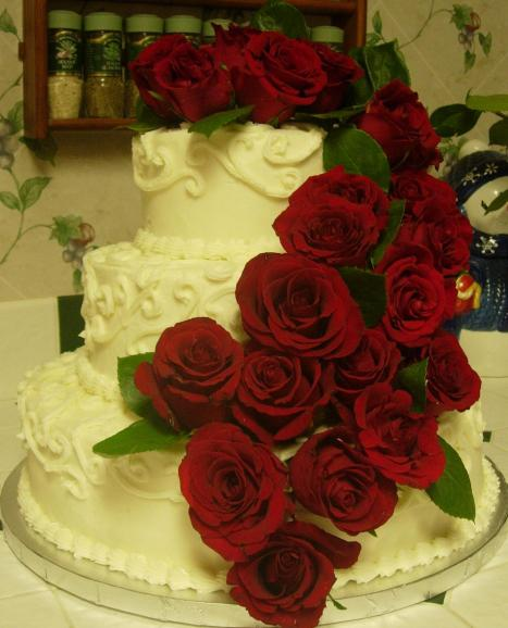 Wedding Cake and Roses